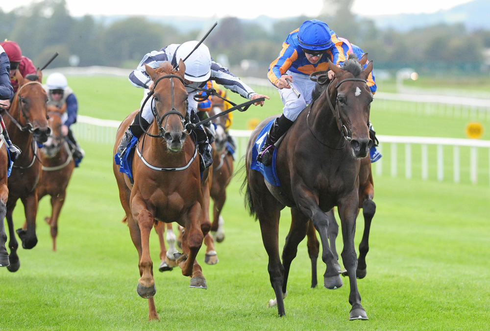 Alpine Star (left) finishes strongly to deny Petite Mustique in the Group 2 Debutante Stakes at the Curragh.