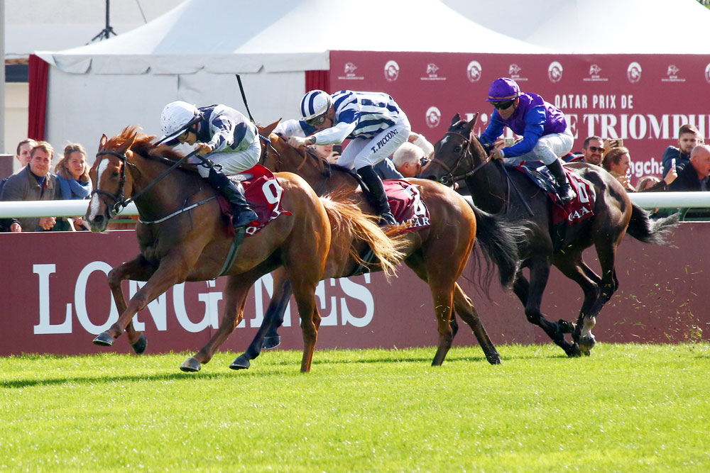 Albigna (Zoffany) comes home two and a half lengths clear of her rivals in the Group 1 Prix Marcel Boussac. Her stride pattern suggests she's more of an Oaks than a Guineas type.