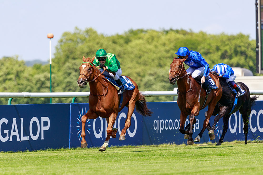 Sottsass (green) powers past Persian King to win the Group 1 Prix du Jockey Club field in a new course record time.
