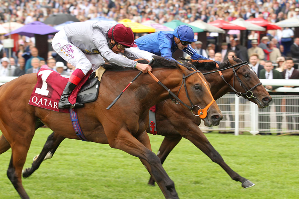 Mehmas edges out Blue Point to win the Group 2 Richmond Stakes at Goodwood.