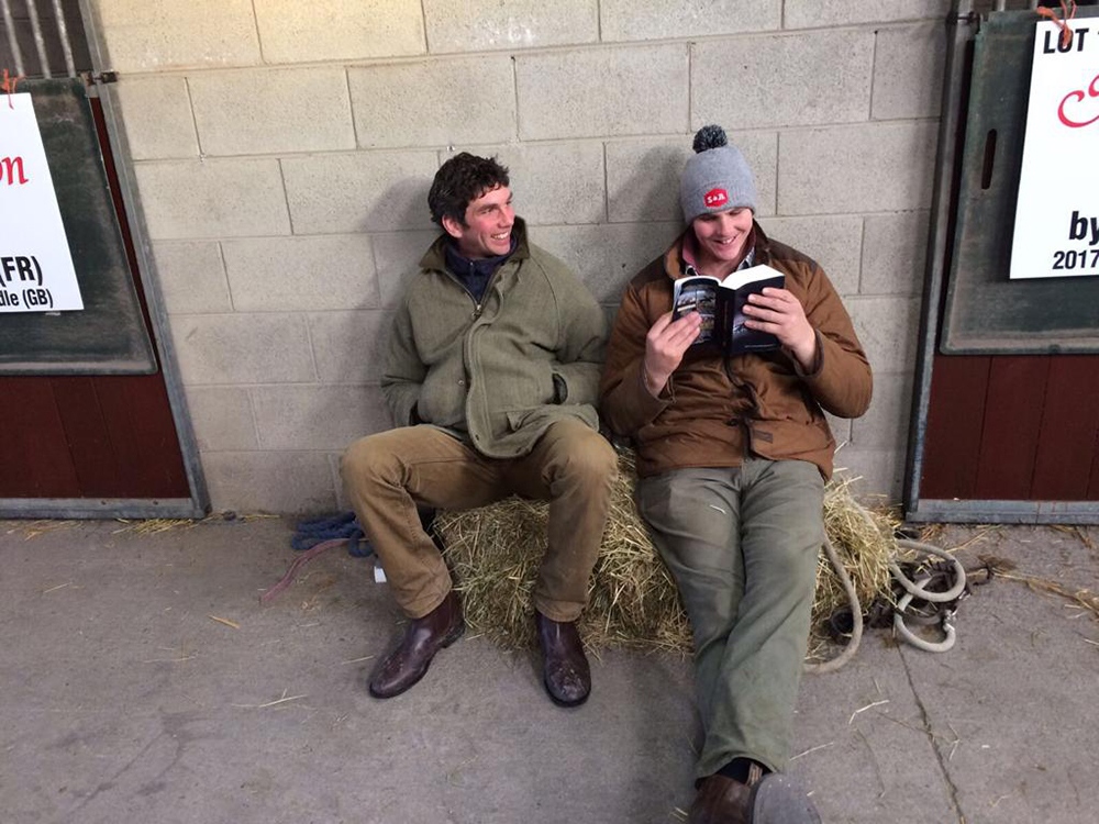 Chris Jnr and his brother Phil relax between viewings at Tattersalls
