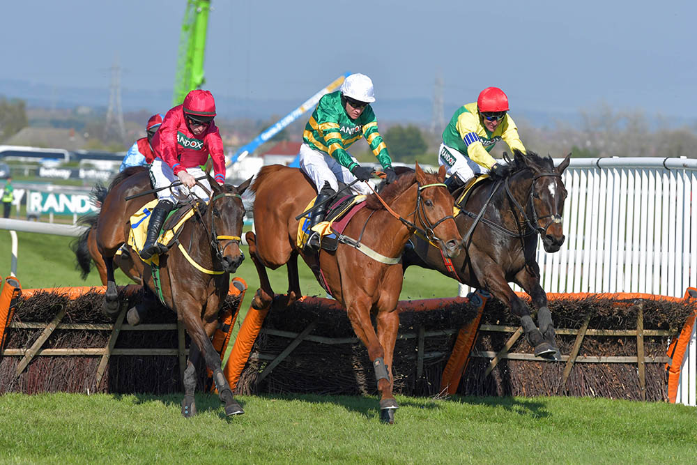 Dual Grade 1 hurdle winner Yanworth (centre) on his way to victory in the Stayers Liverpool Hurdle at Aintree. He is now the winner of 13 races in all, including a Grade 2 over fences.